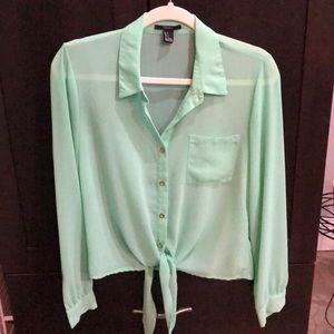 Forever 21 Tie-front, Button Down Blouse